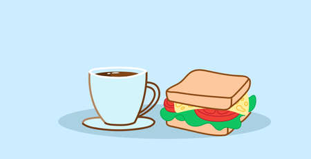 sandwich with coffee cup tasty fast food lunch break concept hand drawn sketch style horizontal vector illustration