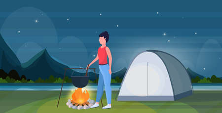 woman hiker cooking meals girl preparing food in bowler boiling pot at campfire hiking concept traveler on hike tent camping night landscape background full length flat horizontal vector illustration