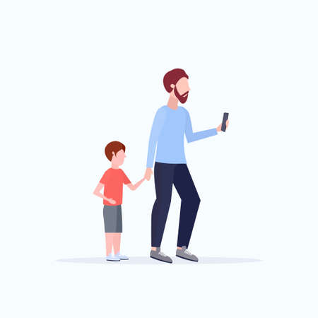man using cellphone while walking with little child son want attention from father smartphone addiction concept flat full length white background vector illustration