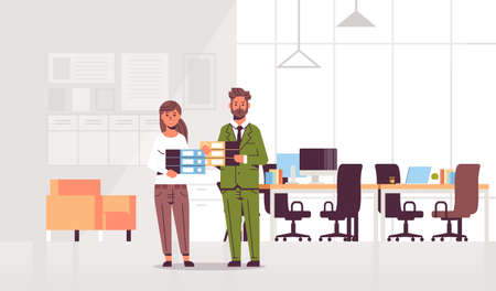 overworked businesspeople man woman holding folder stack couple overloaded coworkers standing together paperwork hard working concept modern office interior flat full length horizontal vector illustration