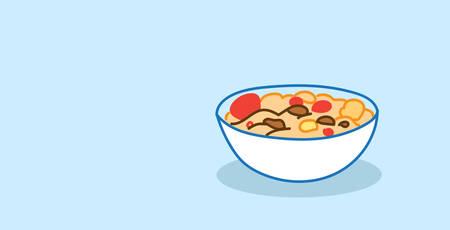 muesli with yogurt and fruits bowl healthy food concept horizontal sketch hand drawn vector illustration 일러스트