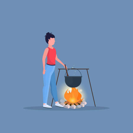 woman hiker cooking meals girl preparing food in bowler boiling pot at campfire hiking camping concept female traveler on hike full length flat vector illustration Ilustracja