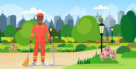 male street cleaner holding broom and dustpan african american man sweeping garbage in scoop cleaning service concept city urban park cityscape background full length flat horizontal vector illustration