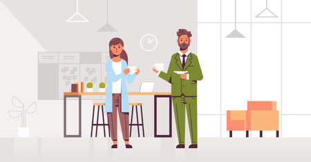 businesspeople couple drinking cappuccino business man woman discussing during meeting coffee break concept modern office interior lounge area flat full length horizontal vector illustration