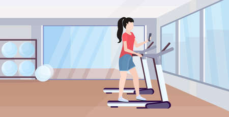 woman running on treadmill girl using smartphone while training workout digital gadget addiction concept modern gym studio interior flat full length horizontal vector illustration