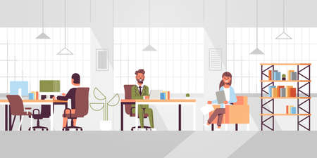 corporate staff employees working in creative co-working open space coworkers businesspeople sitting at workplace and discussing new project modern office interior flat full length horizontal vector i  イラスト・ベクター素材