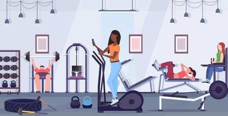 woman training on stepper treadmill african american girl using smartphone while working out digital gadget addiction concept modern gym studio interior flat full length horizontal vector illustration Иллюстрация