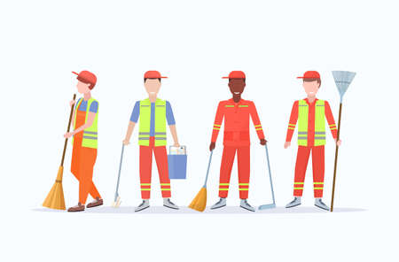 men street cleaners in uniform holding different tools mix race male workers standing together cleaning service concept flat full length white background horizontal vector illustration 矢量图像