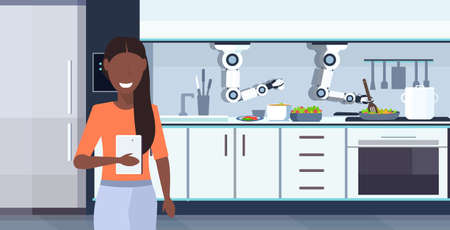 woman using mobile app controlling smart handy chef robot preparing fried eggs and omelet robotic assistant innovation artificial intelligence concept modern kitchen interior horizontal portrait vector illustration