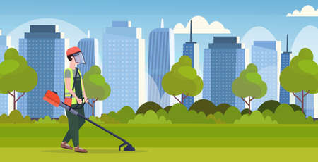 man gardener in uniform cutting grass with brush cutter gardening concept modern cityscape background full length flat horizontal vector illustration