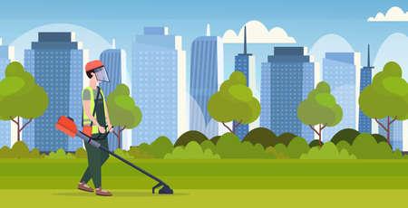 man gardener in uniform cutting grass with brush cutter gardening concept modern cityscape background full length flat horizontal vector illustration