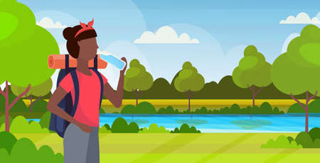 woman hiker with backpack drinking water african american girl traveler on hike hiking concept beautiful nature landscape background portrait flat horizontal vector illustration