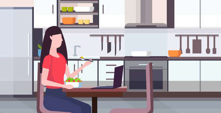 woman eating salad using laptop social media network communication digital gadget addiction concept modern kitchen interior flat portrrait horizontal vector illustration Иллюстрация