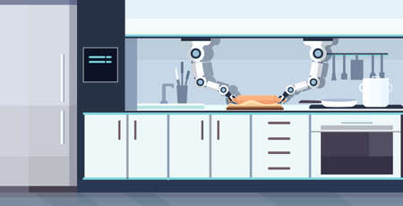smart handy chef robot rolling dough on board robotic assistant innovation technology artificial intelligence concept modern kitchen interior flat horizontal vector illustration
