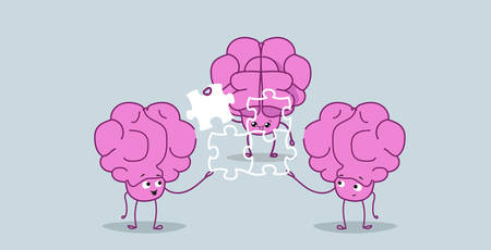 cute human brains putting parts of puzzle together pink cartoon characters brainstorming process successful teamwork strategy concept kawaii sketch style horizontal vector illustration