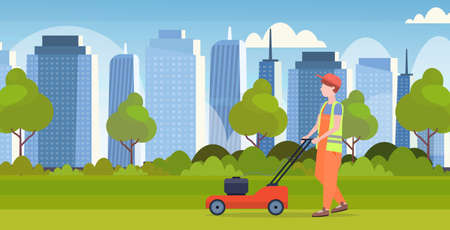 man gardener in uniform cutting grass with lawn mower gardening concept modern cityscape background flat full length horizontal vector illustration
