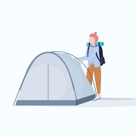woman hiker camper installing a tent preparing for camping hiking concept traveler on hike female cartoon character full length flat vector illustration Vectores