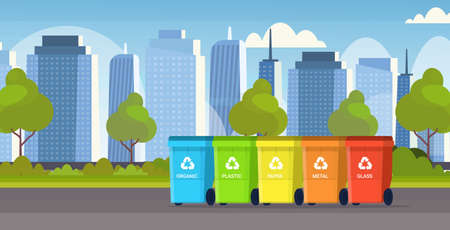 rubbish containers different types of recycling bins segregate waste sorting management environment protection concept modern cityscape background flat horizontal vector illustration Vektorové ilustrace