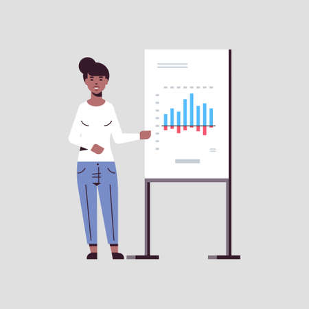 businesswoman presenting financial graph on flip chart african american business woman at seminar making presentation concept female speaker on conference meting flat full length vector illustration  イラスト・ベクター素材