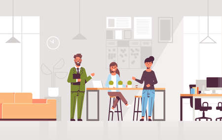 couple coworkers pointing at new female employee introducing hired worker to the team concept modern co-working center office interior flat full length horizontal vector illustration