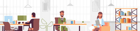 corporate staff employees working in creative co-working open space coworkers businesspeople sitting at workplace and discussing new project modern office interior flat portrait horizontal vector illustration