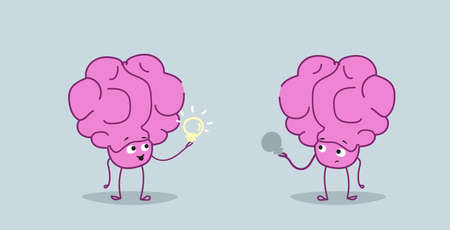 cute human brains couple holding light lamps creative idea imagination concept pink cartoon characters kawaii sketch style horizontal vector illustration 向量圖像