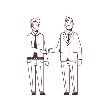 couple businessmen handshaking business partners hand shake during meeting agreement partnership concept male colleagues in formal wear standing together sketch line style full length vector illustration