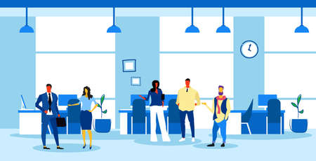 businesspeople team brainstorming business people discussing new project during meeting conference modern office interior sketch full length horizontal vector illustration Illusztráció