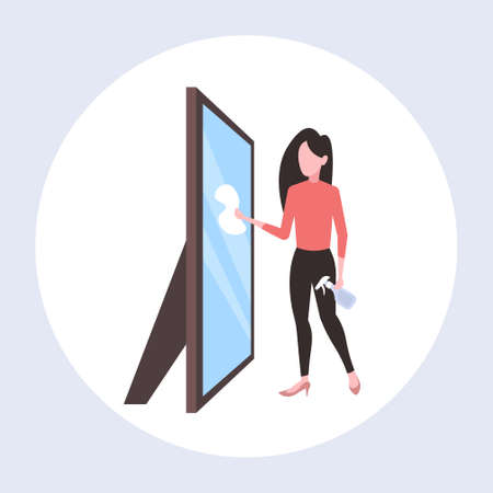 housewife using dust cloth and spray plastic bottle woman cleaner wiping glass mirror cleaning service concept full length flat vector illustration 向量圖像
