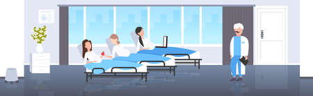 male doctor examining pregnant women lying in hospital bed gynecology consultation pregnancy concept modern clinic interior flat full length horizontal vector illustration Çizim