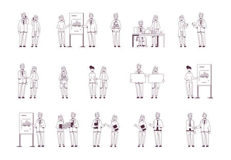 set businesspeople in different situations business people working process successful teamwork concepts collection male female colleagues sketch line style hand drawn full length horizontal vector illustration