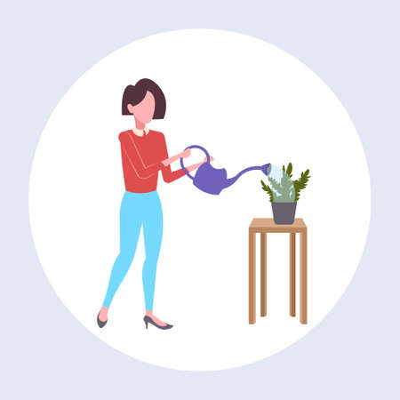 housewife pouring water in domestic potted plant woman holding watering can doing housework concept female cartoon character full length flat vector illustration