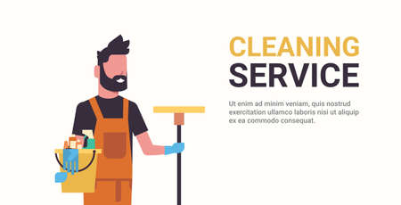 man janitor holding bucket with tools and mop cleaning service concept smiling male worker portrait horizontal copy space flat vector illustration