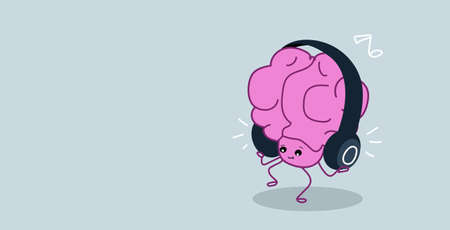 cute human brain organ listening music with headphones relax concept kawaii style pink cartoon character horizontal vector illustration Illustration