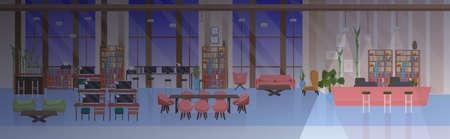 vuoto nessun popolo spazio aperto creativo centro di co-lavoro moderno posto di lavoro notte ufficio interno piatto orizzontale banner illustrazione vettoriale