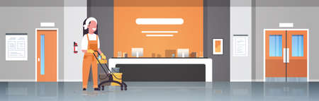 woman janitor pushing trolley cart with supplies female cleaner in uniform cleaning service concept modern hospital reception waiting hall corridor interior horizontal flat full length vector illustration Ilustracja