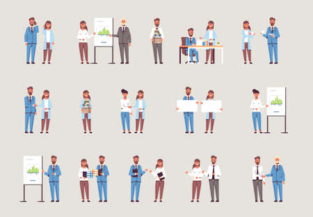 set businesspeople in different working situations business people working process successful teamwork concepts collection male female colleagues standing together flat full length horizontal vector illustration