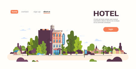modern hotel house exterior hostel building for business facade landscape cityscape background flat horizontal copy space vector illustration