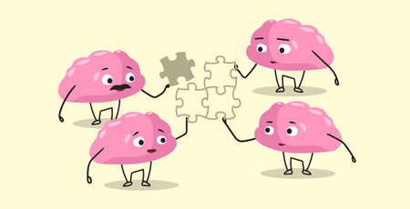 cute human brains putting parts of puzzle together pink cartoon characters brainstorming process successful teamwork strategy concept kawaii style horizontal vector illustration 向量圖像