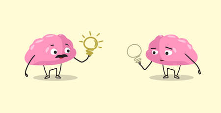 cute human brains couple pink cartoon characters holding light lamps creative idea concept kawaii style horizontal vector illustration 向量圖像