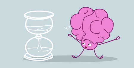 human brain standing at sand watch time management deadline concept pink cartoon character kawaii style horizontal sketch hand drawn vector illustration