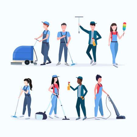 Establecer el concepto de servicio de limpieza del equipo de conserjes hombres mujeres mezclan limpiadores de carrera en uniforme que trabajan junto con equipos profesionales planos de longitud completa diferentes personajes colección ilustración vectorial
