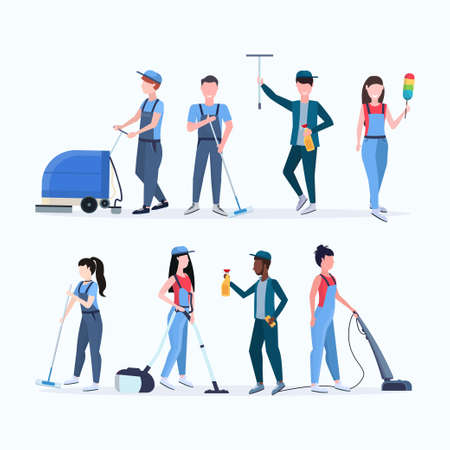set janitors team cleaning service concept men women mix race cleaners in uniform working together with professional equipment flat full length different characters collection vector illustration
