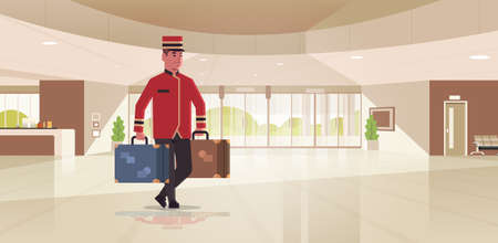 bell boy carrying suitcases hotel service concept bellman holding luggage male worker in uniform modern reception area lobby interior full length horizontal flat vector illustration 일러스트