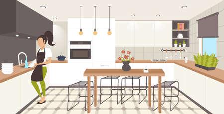 Donna lavare i piatti casalinga tergi piatti lavastoviglie concetto ragazza in grembiule facendo lavori domestici cucina moderna interna piana orizzontale a piena lunghezza illustrazione vettoriale