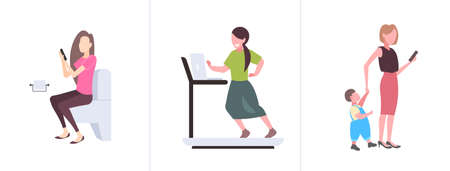 set girls using gadgets sitting toilet bowl running on treadmill and walking with child different digital addiction concepts collection flat horizontal vector illustration Stock Illustratie