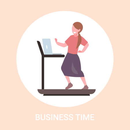 businesswoman using laptop running on treadmill business woman workout hard working concept flat full length vector illustration