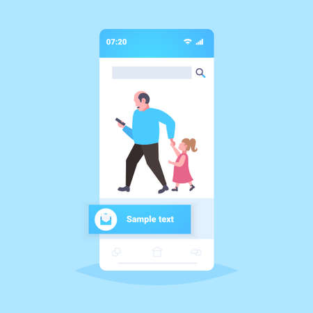 man using cellphone while walking with little child daughter want attention from father smartphone addiction concept flat full length mobile application vector illustration
