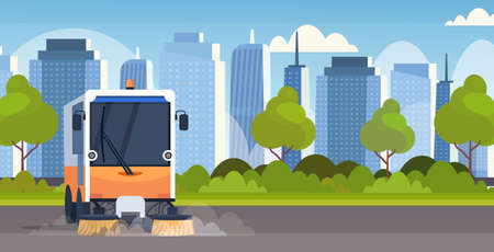 street sweeper truck machine cleaning process industrial vehicle urban road service concept modern cityscape background horizontal flat vector illustration