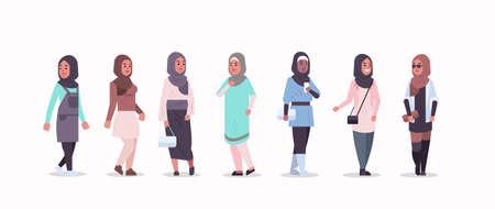 Stellen Sie arabische Frauen in Hijab verschiedene arabische Mädchen ein, die traditionelle Kleidung mit Kopftuch tragen weibliche Zeichentrickfiguren Sammlung in voller Länge flache horizontale Vektorillustration Vektorgrafik